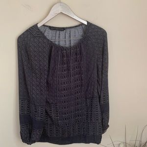Peruvian connection grey printed blouse XS